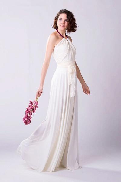 Convertible Lace Floor Length Sheath Wedding Dress_4