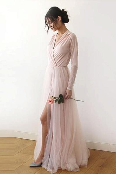 Front Slit Long Sleeve V-neck Tulle Wedding Dress_4