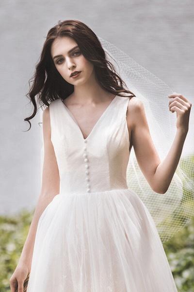 Graceful V-neck Lace Tulle A-line Wedding Dress_9