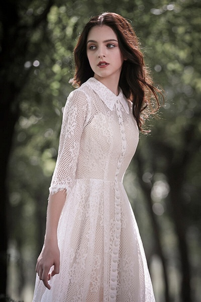 Cute Front Button-up Lace A-line Wedding Dress_11