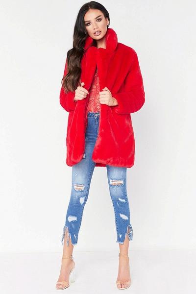 Winter Daily Regular Stand Long Faux Fur Coats_4