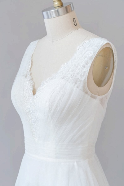 Ruffle V-neck Lace Tulle A-line Wedding Dress_6