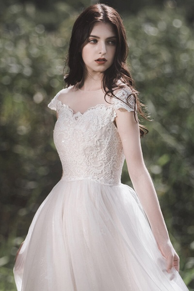Awesome Cap Sleeve Lace Tulle A-line Wedding Dress_5