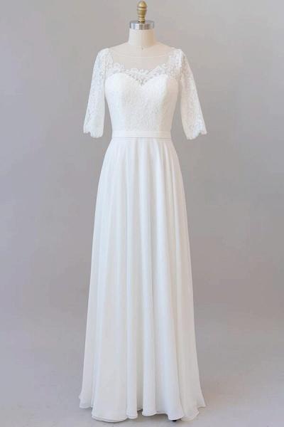 Graceful Lace Chiffon Floor Length Wedding Dress_1