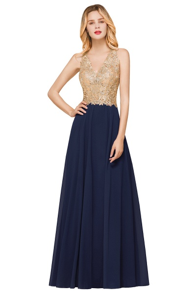 Awesome V-neck Chiffon Evening Dress_5