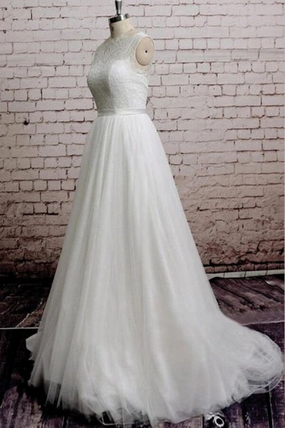 Illusion Lace Tulle Chapel Train Wedding Dress_4