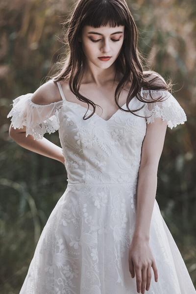 Cold-shoulder Lace Tulle A-line Wedding Dress_8