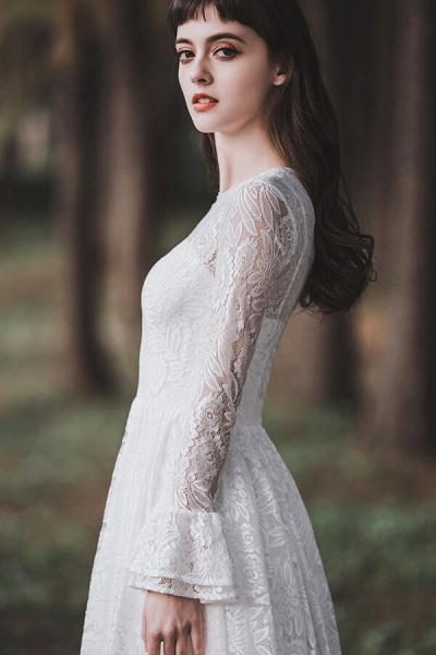 Illusion Long Sleeve Lace A-line Wedding Dress_12