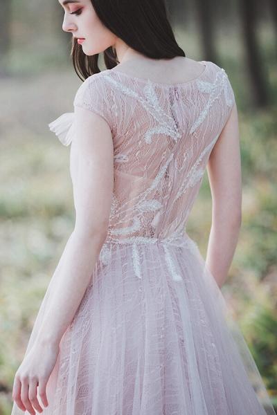 Eye-catching Cap Sleeve Lace A-line Wedding Dress_8
