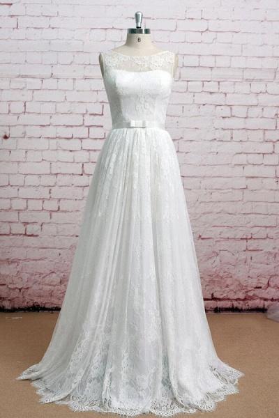 Graceful Floor Length Lace A-line Wedding Dress_1