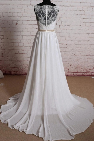 Elegant Lace Chiffon A-line Wedding Dress_3