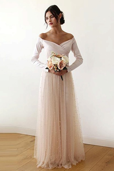 Long Sleeve Off The Shoulder Tulle Wedding Dress_1