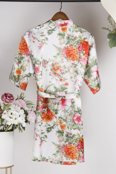 Short Sleeve Floral Print Bridesmaid Bridal Robes_3