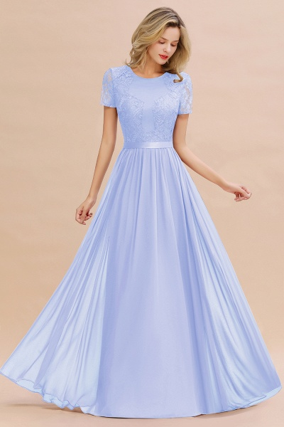 BM0831 Chiffon Lace Scoop Short Sleeve Bridesmaid Dress_22