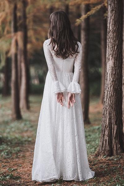 Illusion Long Sleeve Lace A-line Wedding Dress_3