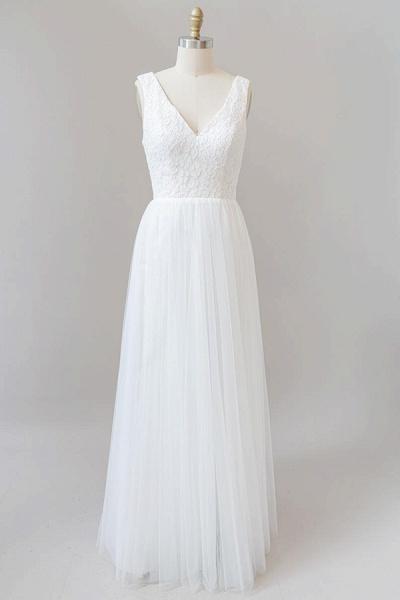 Open Back V-neck Lace Tulle A-line Wedding Dress_1