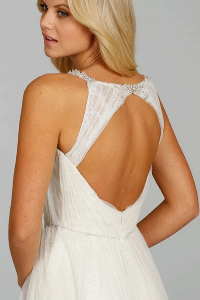 Ruffle Beading V-neck Tulle A-line Wedding Dress_5