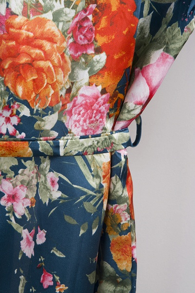 Short Sleeve Floral Print Bridesmaid Bridal Robes_31