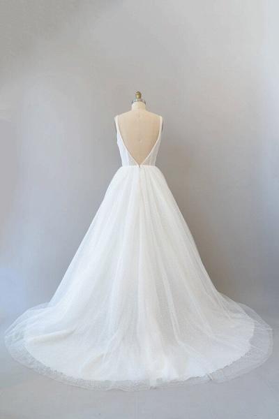Open Back Sequins Tulle A-line Wedding Dress_3
