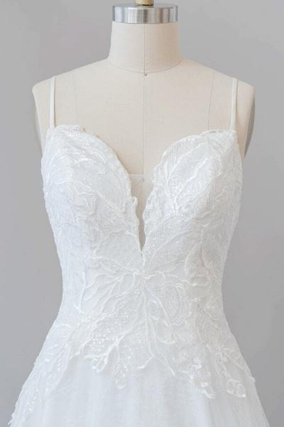 Spaghetti Strap Applique Tulle A-line Wedding Dress_6
