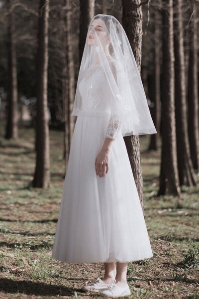 Long Sleeve Sequins Tulle A-line Wedding Dress_4
