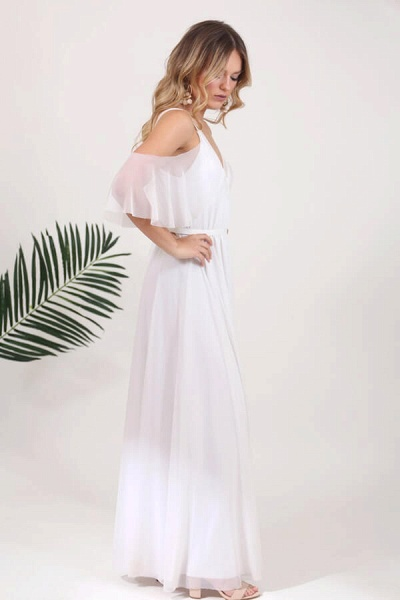 V-neck Cold Shoulder Chiffon A-line Wedding Dress_4