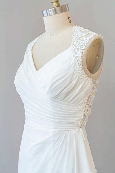 Awesome Ruffle Lace Chiffon Sheath Wedding Dress_7