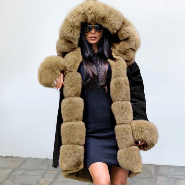 Winter Faux Fur-trimmed Long-length Overcoat_2