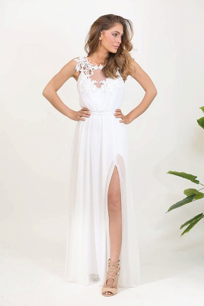 Front Slit Appliques Chiffon A-line Wedding Dress_2