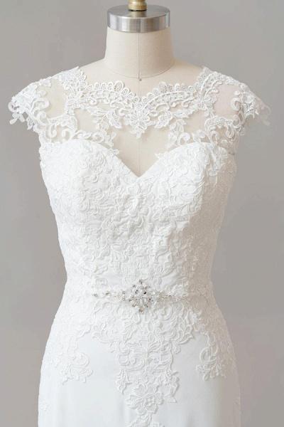 Cap Sleeve Illusion Lace Sheath Wedding Dress_6