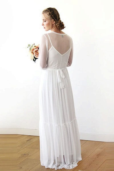 Graceful Long Sleeve V-neck Chiffon Wedding Dress_3