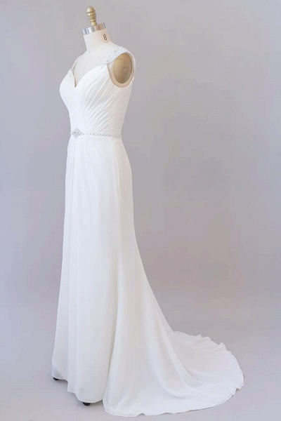 Elegant Ruffle Beading Chiffon Sheath Wedding Dress_4