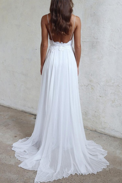 Appliques Spaghetti Strap Chiffon Wedding Dress_4