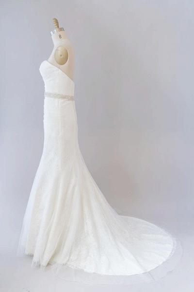 Awesome Ruffle Strapless Lace Sheath Wedding Dress_5