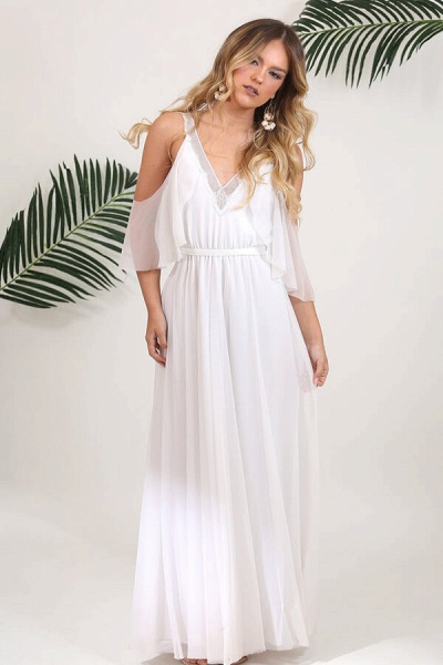 V-neck Cold Shoulder Chiffon A-line Wedding Dress_6