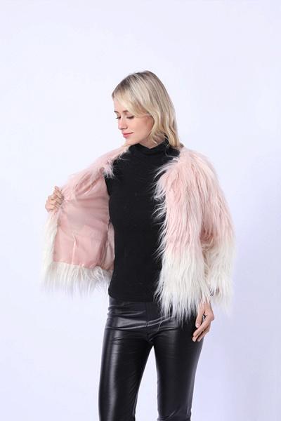 Ombre Party Fashion Winter Regular Faux Fur Coats_6