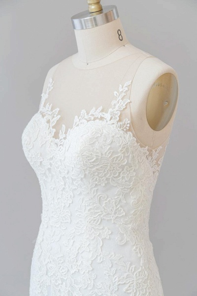 Graceful Illusion Appliques Mermaid Wedding Dress_7