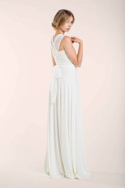 Convertible Lace Floor Length Sheath Wedding Dress_10