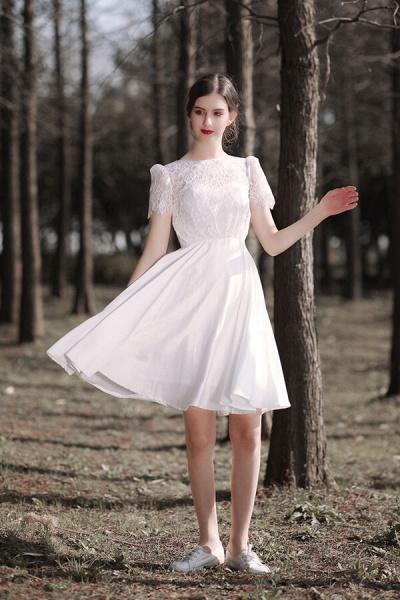 Short Sleeve Lace A-line Short Wedding Dress_2