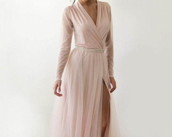 Front Slit Long Sleeve V-neck Tulle Wedding Dress_6