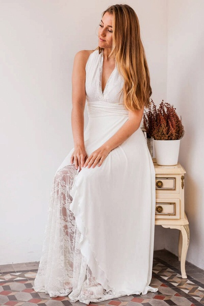 Empire Waist V-neck Lace Chiffon Wedding Dress_4