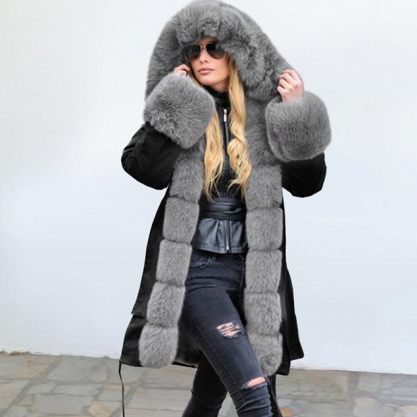 Winter Faux Fur-trimmed Long-length Overcoat_4