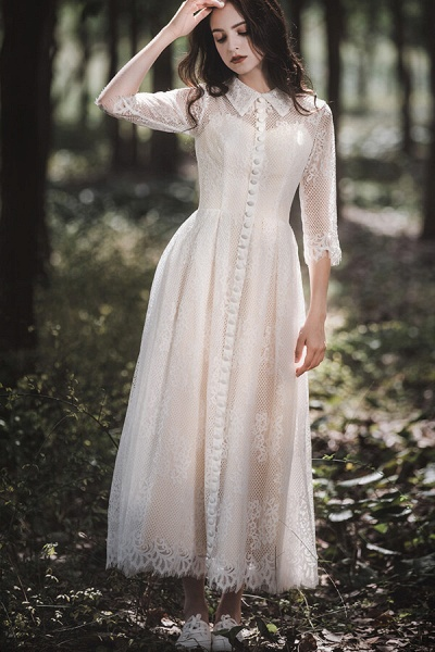 Cute Front Button-up Lace A-line Wedding Dress_4