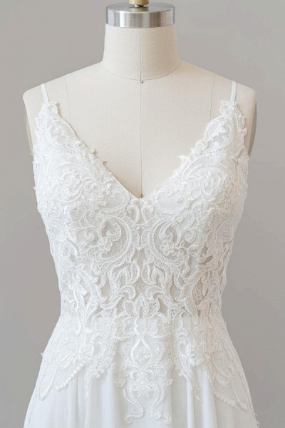 Spaghetti Strap Appliques Chiffon Wedding Dress_6