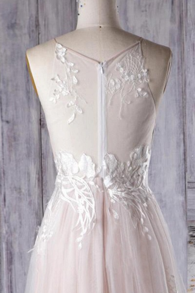 Chic Ruffle Floor Length Tulle A-line Wedding Dress_6