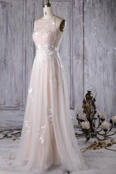 Chic Ruffle Floor Length Tulle A-line Wedding Dress_4