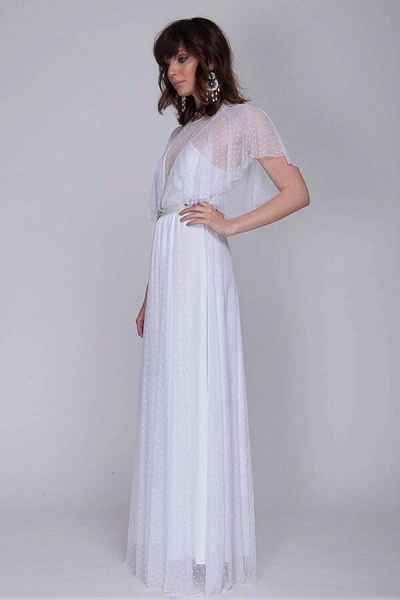 Polka Dot Short Sleeve Lace Tulle Wedding Dress_4
