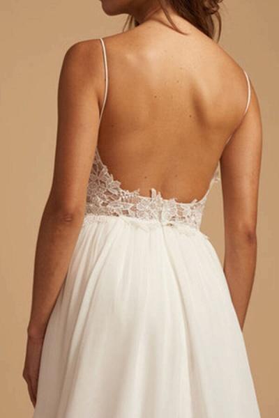 Elegant Open Back Appliques Chiffon Wedding Dress_6