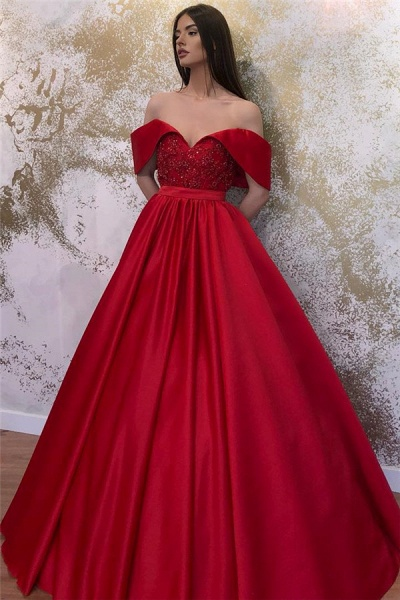 Lace Off-the-shoulder A-line Sweetheart Formal Dresses_3