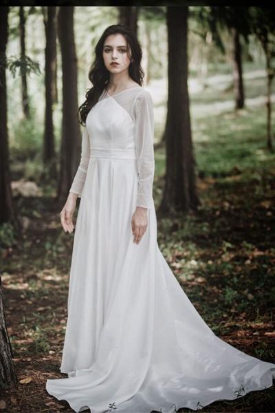 Elegant Long Sleeve Satin A-line Wedding Dress_1